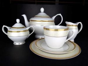 5de3674459d9a Agawa Gold 0677 - Serwis do herbaty dla 12 osób z deserówkami + PREZENT !